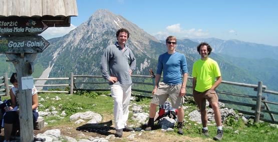 Marko, Marjan in Žiga na Tolstem vrhu.